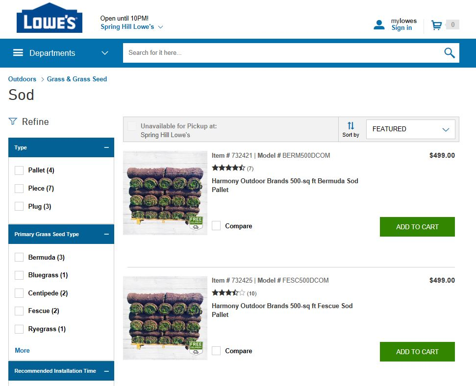 lowes pricing
